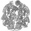 depiction of Aztec warriors resembling sacrum bone